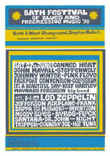 1970 Bath Festival of Blues and Progressive Music Information Poster